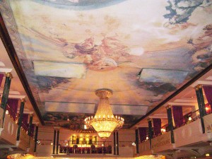 Beautiful, frescoed ceiling and chandeliers in the Kaisersaal Ballroom