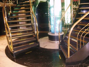 Lobby staircase aboard the Athena